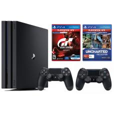 Sony PlayStation 4 Pro Console 4K Resolution + Grand Turismo Sport + Uncharted Collection HITS  + 2