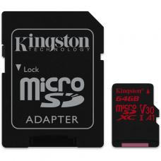 Kingston 64GB microSDXC Canvas React  100R/80W U3 UHS-I V30 A1 Card + SD Adptr