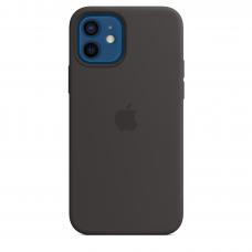 Apple Iphone 12/12 Pro Silicon Case with MagSafe ( Black )
